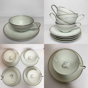 Noritake China Japan Candice Teacups Saucers 5509